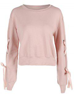 Sweatshirt With Lace Up Long Sleeve - Light Pink M