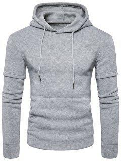 Faux Twinset Pocket Fleece Pullover Hoodie - Gris Claro S