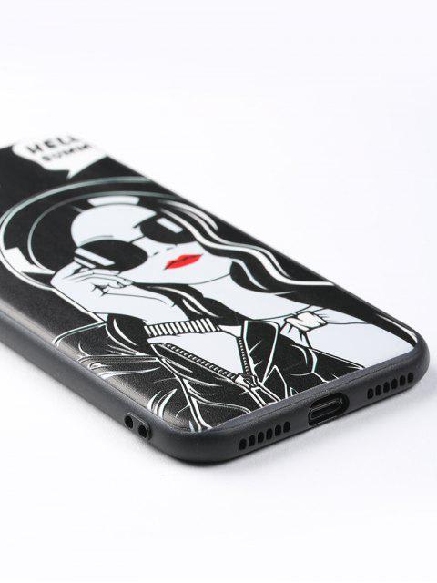 ladies Cool Girl Pattern Cell Phone Case For Iphone - BLACK FOR IPHONE 7 Mobile