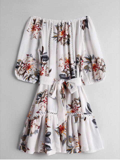 shop Floral Flounces Off Shoulder Mini Dress - FLORAL XL Mobile
