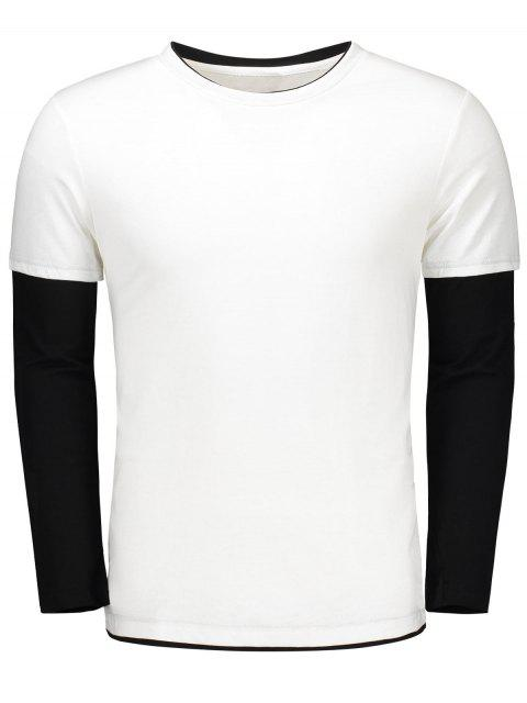 trendy Long Sleeve Color Block T Shirt - WHITE XL Mobile