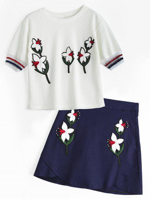 women's Voile Panel Floral Patches Top and Beaded Mini Skirt - WHITE L Mobile