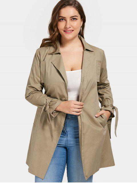 affordable Plus Size Wrap Coat - KHAKI 3XL Mobile