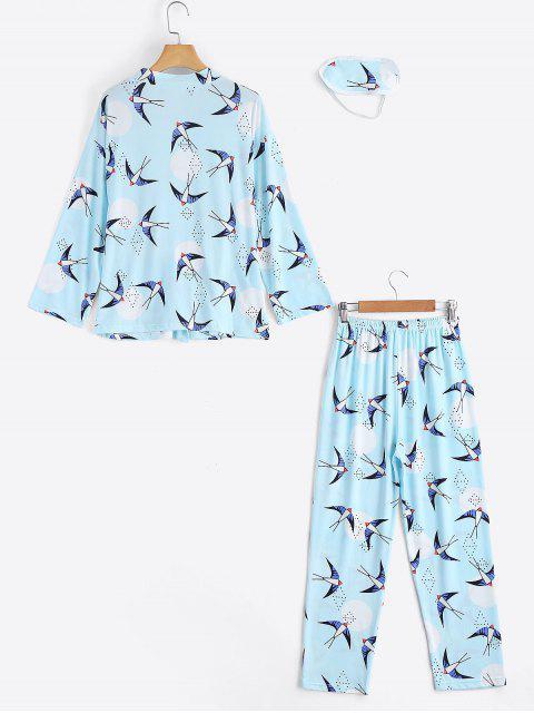 best Loungewear Swallow Print Wrap Top with Pants - LIGHT BLUE XL Mobile