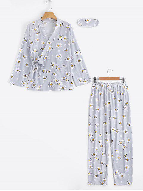 Loungewear Blumen Wickel Top Mit Hose - Grau L Mobile