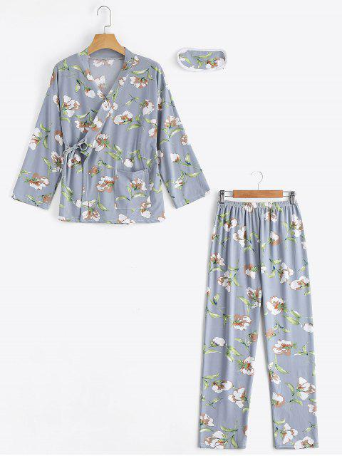 best Loungewear Floral Wrap Top with Pants - STONE BLUE L Mobile