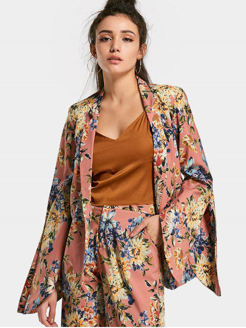 lady Open Sleeve Floral Blazer - FLORAL L Mobile