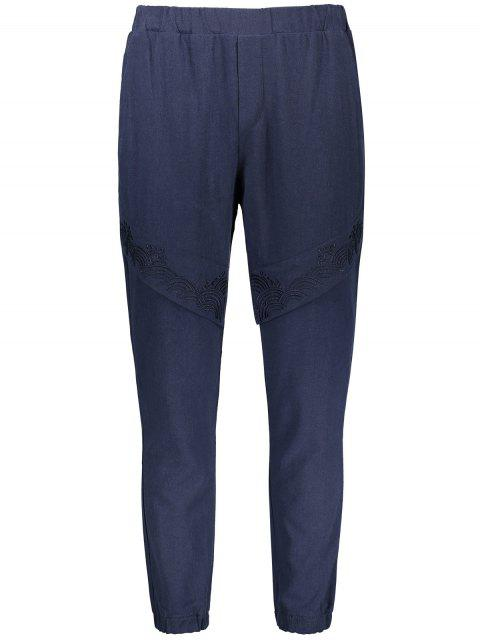lady Elastic Waist Embroidered Jogger Pants - CADETBLUE 4XL Mobile