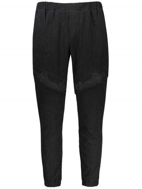 hot Casual Embroidered Elastic Waist Pants - BLACK 4XL Mobile