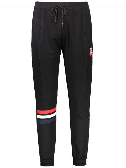 shops Drawstring Striped Sporty Jogger Pants - BLACK 3XL Mobile