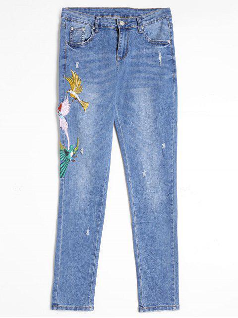 Zerrissener Jeans mit Vogelstickereien - Blau S Mobile