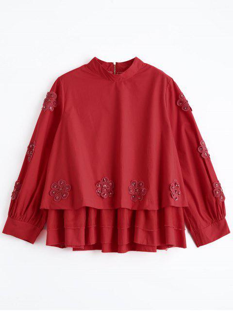 Perlstickerei mit Blumenmuster - Rot Eine Größe Mobile