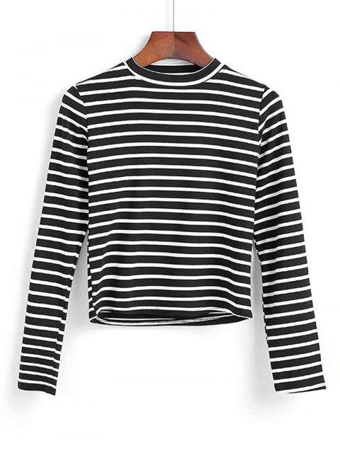 trendy Long Sleeve Stripes Layering Top - BLACK ONE SIZE Mobile