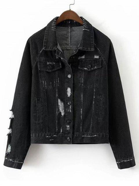 best Loose Destroyed Button Up Denim Jacket - BLACK M Mobile