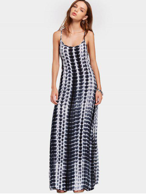 latest Slit Printed Open Back Cami Maxi Dress - MULTI M Mobile