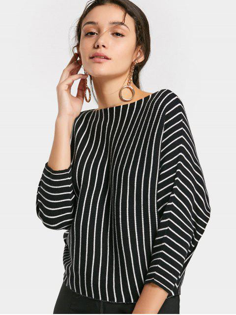 unique Loose Batwing Sleeve Stripes Sweater - BLACK ONE SIZE Mobile