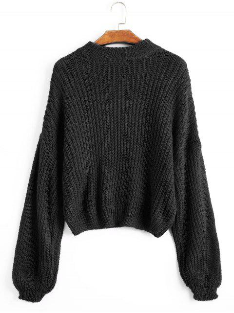 sale Lantern Sleeve Mock Neck Chunky Sweater - BLACK ONE SIZE Mobile