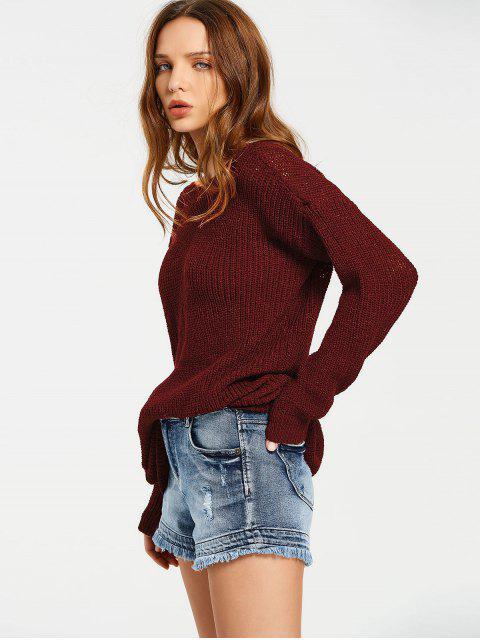 Pull Épais Oversize Dos en V - Rouge vineux  Taille Unique Mobile