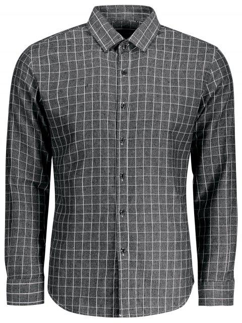 online Casual Long Sleeve Plaid Shirt - GRAY 3XL Mobile