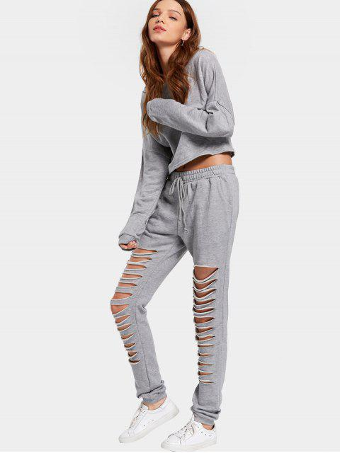women's Cut Out Top and Pants Suit - GRAY S Mobile