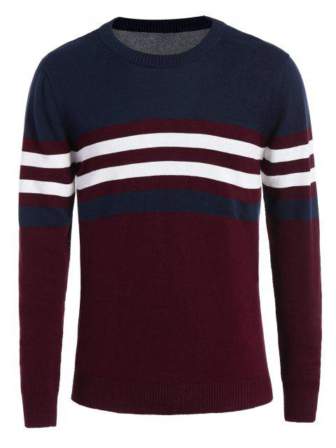 best Crew Neck Striped Sweater - WINE RED 2XL Mobile
