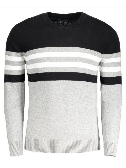 outfit Crew Neck Striped Sweater - GRAY XL Mobile