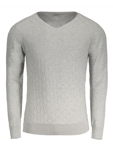 shop Rhombus V Neck Sweater - GRAY 2XL Mobile