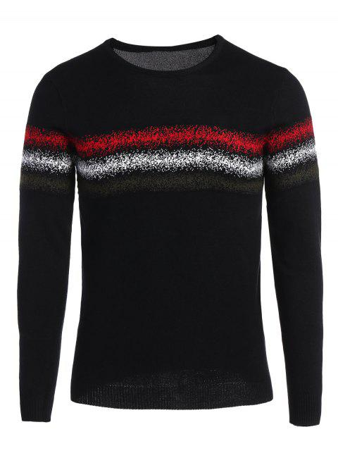 Mens Crew Neck Grafik Pullover - Schwarz 2XL Mobile