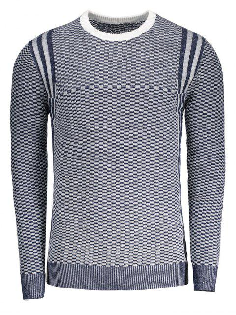 Heathered Rundhals Pullover - Blau XL Mobile