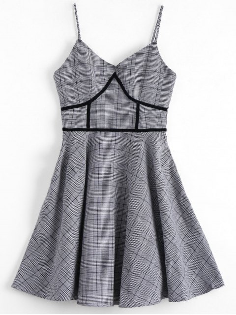 women's Houndstooth Slip Dress - PLAID S Mobile