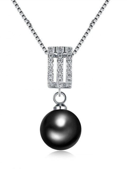 Rhinestone-Faux-Perlen-hängende Charme-Halskette - Silber  Mobile