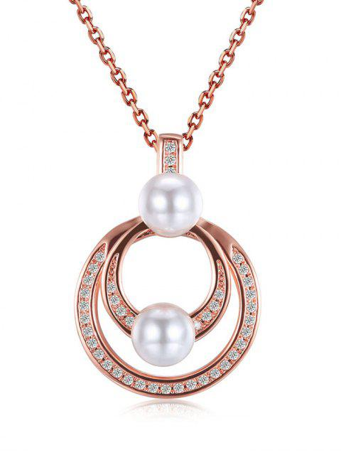 buy Faux Pearl Double Circle Pendant Necklace -   Mobile