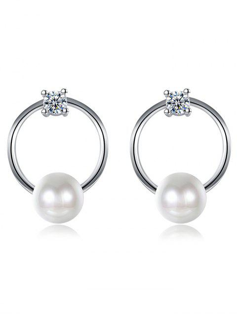 ladies Rhinestone Faux Pearl Tiny Circle Earrings - SILVER  Mobile