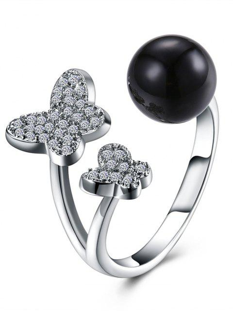 hot Rhinestoned Butterfly Ball Cuff Ring - BLACK  Mobile