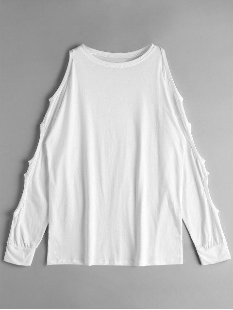 Kaltes Schulter Ausschnitt Uni T-Shirt - Weiß Eine Größe Mobile