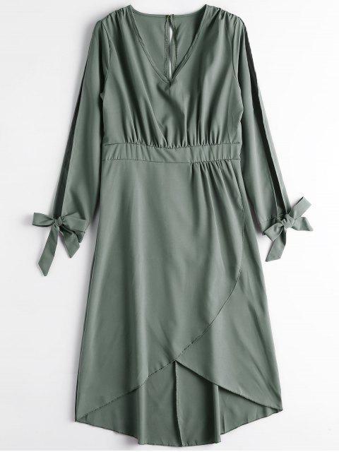 women Split Sleeve Front Slit Cut Out Midi Dress - ARMY GREEN L Mobile