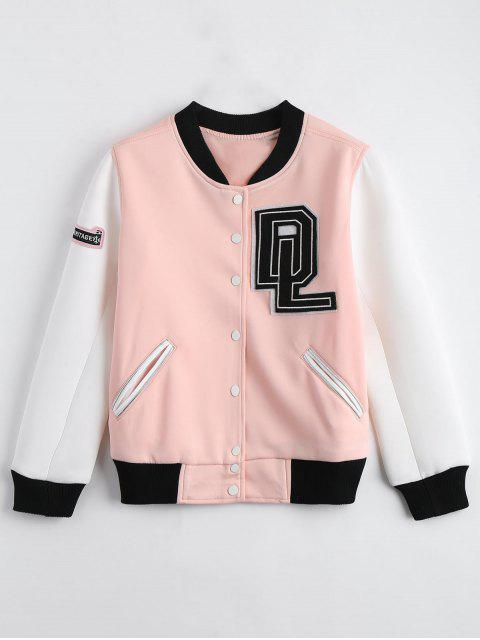 shops Baseball Button Up Bomber Jacket - SHALLOW PINK XL Mobile