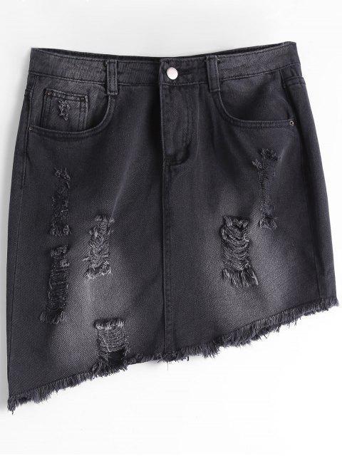 chic Ripped High Waist Asymmetric Denim Skirt - BLACK XL Mobile