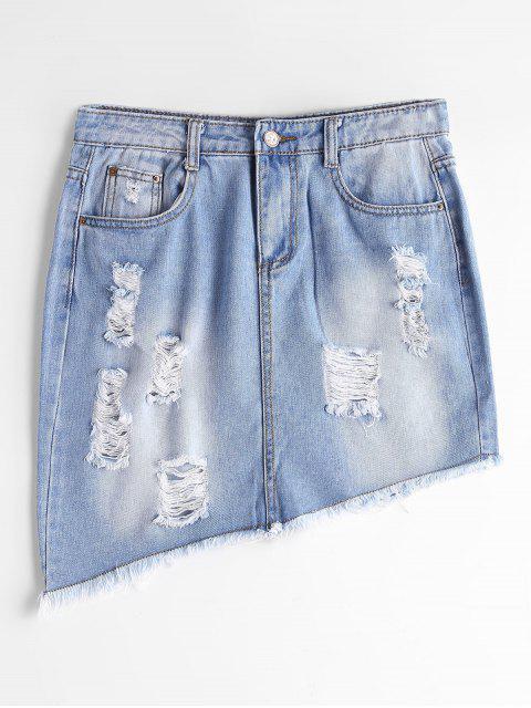affordable Ripped High Waist Asymmetric Denim Skirt - LIGHT BLUE S Mobile