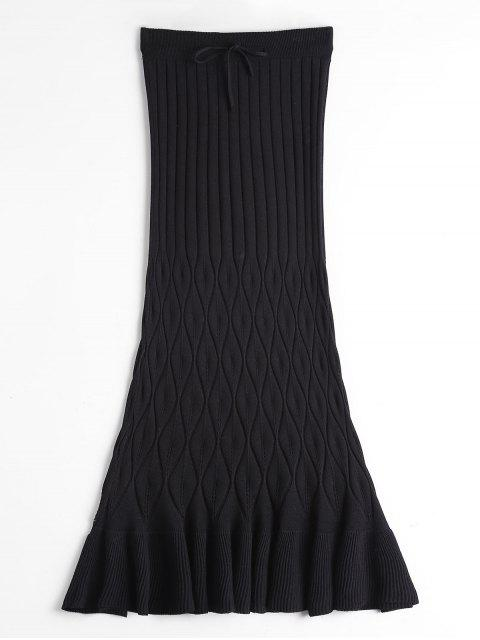 women High Waist Ruffle Hem Knitted Skirt - BLACK ONE SIZE Mobile