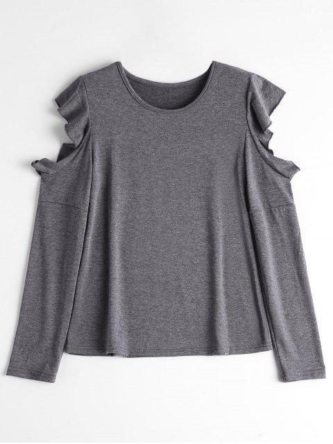 women's Ruffle Hem Cold Shoulder Tee - DEEP GRAY L Mobile