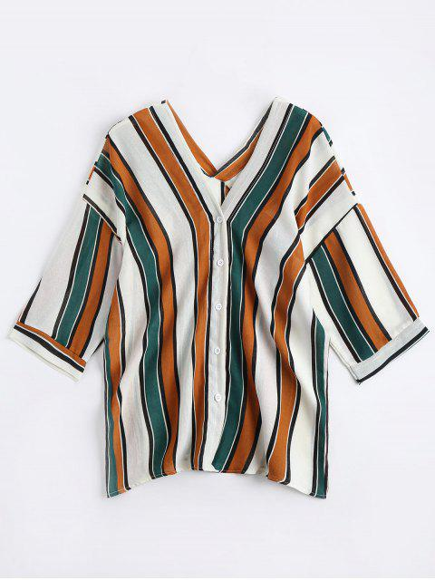 latest V Neck Drop Shoulder Striped Blouse - YELLOW ONE SIZE Mobile