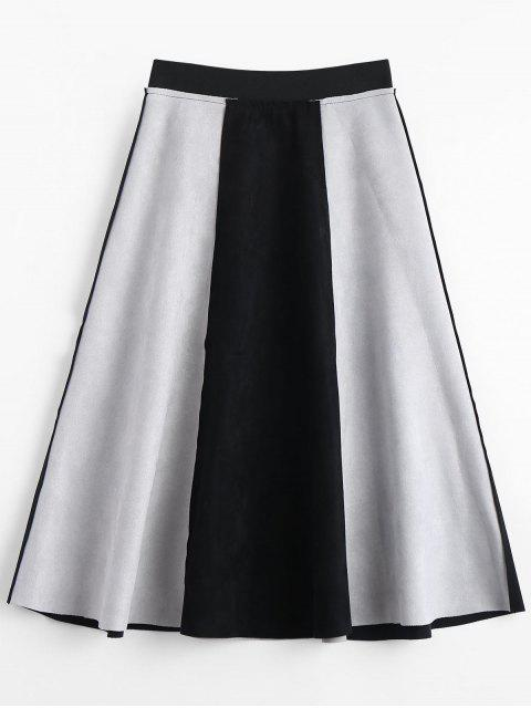 fancy Suede Color Block Swing Skirt - BLACK L Mobile