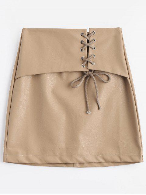 womens Lace Up High Waisted PU Mini Skirt - APRICOT M Mobile