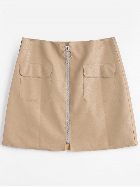 new Zipper Fly High Waisted Mini Skirt - APRICOT S Mobile