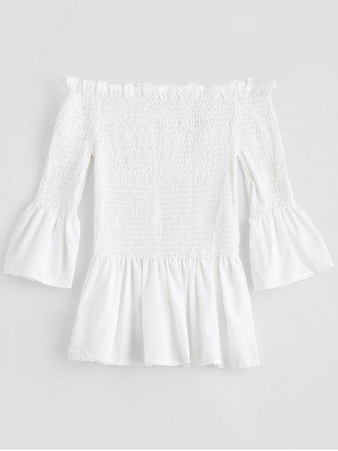 trendy Bell Sleeve Off The Shoulder Smocked Blouse - WHITE S Mobile