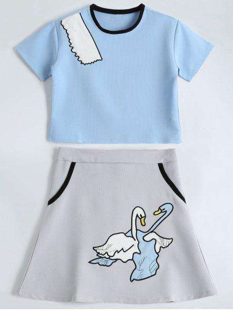 women's Embroidered Top and Cute Patched Mini Skirt - LIGHT BLUE XL Mobile