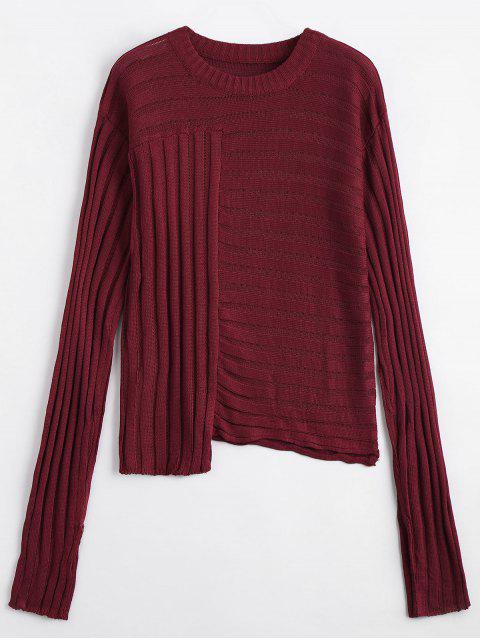 shop Asymmetric Ribbed Sweater - WINE RED ONE SIZE Mobile