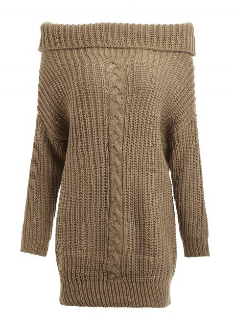 latest Turtleneck Cable Knit Chunky Sweater - KHAKI ONE SIZE Mobile