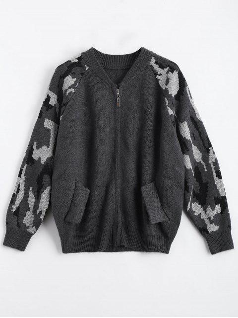 trendy Back Pocket Zip Up Graphic Cardigan - DEEP GRAY ONE SIZE Mobile